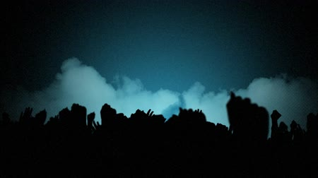 torcendo : Animation of people cheering with arms in the air in silhouette in fast motion with cloud of smoke on blue gradient background Vídeos
