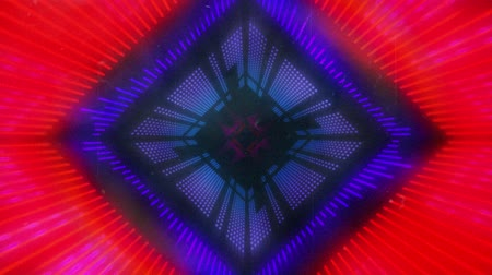멀티 컬러 : Animation of glowing purple, pink and blue neon kaleidoscope diamond shapes moving in repetition on black background