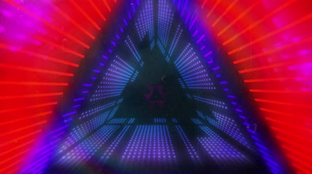 멀티 컬러 : Animation of glowing purple, pink and blue neon kaleidoscope triangles moving in repetition on black background 무비클립