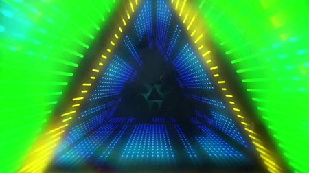 멀티 컬러 : Animation of glowing yellow, green and blue neon kaleidoscope triangles moving in repetition on black background 무비클립