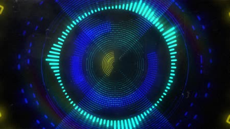 калейдоскоп : Animation of glowing yellow, green and blue neon kaleidoscope circles moving in repetition in hypnotic motion on black background digitally generated image