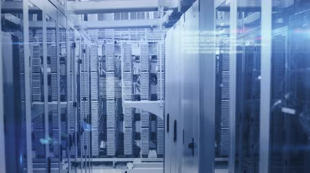 provider : Animation of data processing and digital information flowing through network of computer servers in a server room with glowing lights. Global network of internet service provider or data processing centre concept.