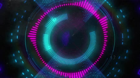 멀티 컬러 : Animation of glowing purple, pink and blue neon kaleidoscope circles moving in repetition in hypnotic motion on black background digitally generated image