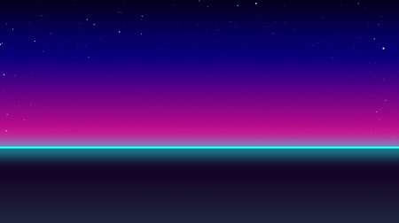 ностальгия : Animation of seamless loop of horizon with turquoise glowing line and pink to blue gradient sky with glowing stars at night. Digital illustration of open tranquil space at night. Стоковые видеозаписи