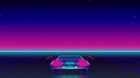 ностальгия : Animation of seamless loop of back of a sports car driving fast towards horizon with turquoise glowing line and purple to blue gradient sky. Digital illustration of car travel.