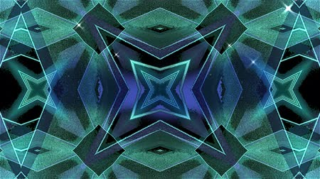 ностальгия : Animation of retro hypnotic glowing kaleidoscope turquoise shapes moving in seamless loop in repetition on black background. Movement and repetition abstract concept.