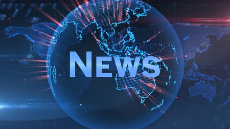 corrente : Animation of the word News written in blue with blue glowing digital globe with red flashes of light rotating on blue and red glowing background. Global technology media and information network concept. Vídeos