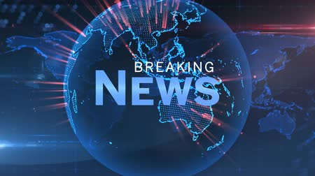 breaking news : Animation of the words Breaking News written in blue and white with blue glowing digital globe with red flashes of light rotating on blue and red glowing background. Global technology media and information network concept.