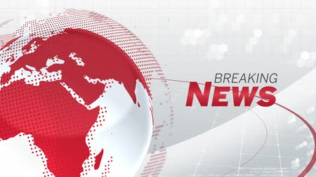 affairs : Animation of the words Breaking News written in grey and red, white and red digital globe rotating, information processing with red lines moving around on white background. Global technology media and information network concept.