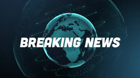 breaking news : Animation of the words Breaking News written in white with blue glowing digital globe with blue lines of doted light rotating, with blue gradient glowing background. Global technology media and information network concept.