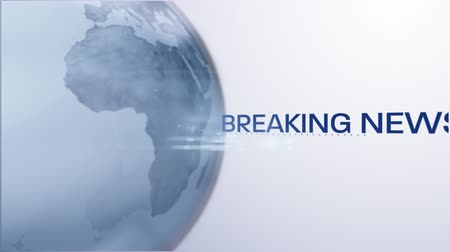 news letter : Animation of the words Breaking News written in blue moving around blue and white digital globe rotating on white to blue gradient background. Global technology media and information network concept.