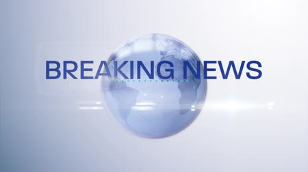 escrito : Animation of the words Breaking News written in blue on blue and white digital globe rotating on white to blue gradient background. Global technology media and information network concept.