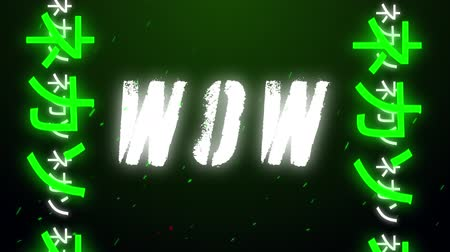 escrito : Animation of vintage video game screen with the word Wow written in white capital letters with Chinese Asian letters in green and white moving from bottom to top in seamless loop with particles floating on dark green background. Vintage video game concept