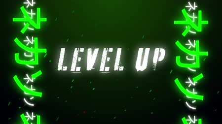 césar : Animation of vintage video game screen with the words Level Up written in white capital letters with Chinese Asian letters in green and white moving from bottom to top in seamless loop with particles floating on dark green background. Vintage video game c