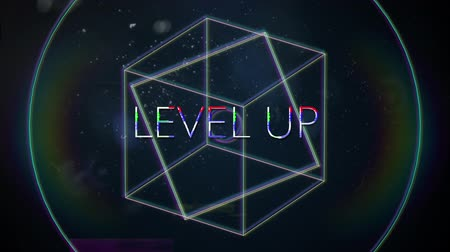 hale : Animation of vintage video game screen with the words Level Up written in white capital letters with geometric shapes rotating rainbow halo spots of light on dark blue background. Vintage video game concept.