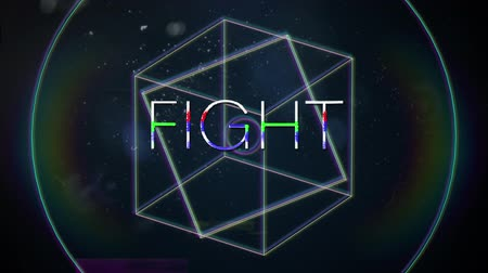 hale : Animation of vintage video game screen with the word Fight written in white capital letters with geometric shapes rotating rainbow halo spots of light on dark blue background. Vintage video game concept.