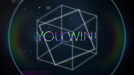 you win : Animation of vintage video game screen with the words You Win! written in white capital letters with geometric shapes rotating rainbow halo spots of light on dark blue background. Vintage video game concept.