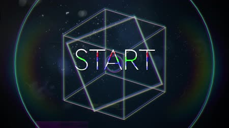writings : Animation of vintage video game screen with the word Start written in white capital letters with geometric shapes rotating rainbow halo spots of light on dark blue background. Vintage video game concept.