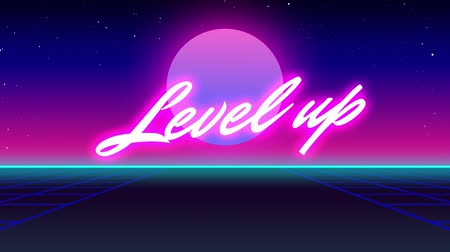 escrito : Animation of vintage video game screen with the words Level Up! written in pink glowing letters with grid in motion on seamless loop, glowing pink moon on pink to purple glowing background, Vintage video game concept.