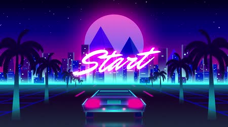 espaço de texto : Animation of vintage video game screen with the word Start written in pink glowing letters with back of sports car driving towards city and glowing pink moon on palm tree lined highway, Vintage video game concept.