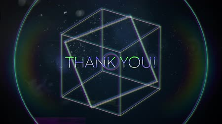 konzol : Animation of vintage video game screen with the words Thank You! written in white capital letters with geometric shapes rotating rainbow halo spots of light on dark blue background. Vintage video game concept.