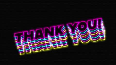 obrigado : Animation of vintage video game screen with the words Thank You! overlapping in magenta, cyan, yellow outlined capital letters bouncing with a green circle appearing and disappearing on black background. Vintage video game concept.