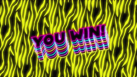 you win : Animation of vintage video game screen with the words You win! overlapping in magenta, cyan, yellow outlined capital letters bouncing with yellow flame shapes moving and a green circle appearing and disappearing on black background. Vintage video game con Stock Footage