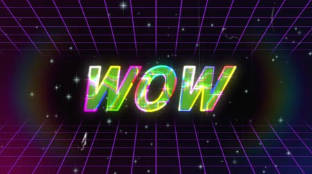 konzol : Animation of vintage video game screen with the word Wow written in metallic multi coloured glowing capital letters with rainbow halo in a seamless loop of moving purple grid on black background. Vintage video game concept.