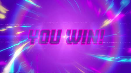 you win : Animation of vintage video game screen with the words You win! written in glowing pink letters in pink circle with multicoloured light trails on purple background. Vintage video game concept.