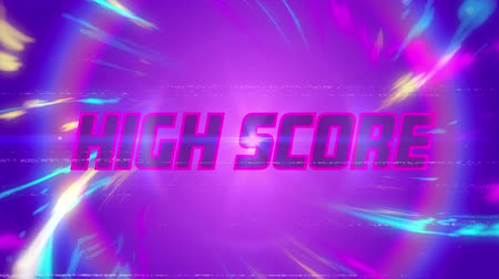 написанный : Animation of vintage video game screen with the words High Score written in glowing pink letters in pink circle with multicoloured light trails on purple background. Vintage video game concept.