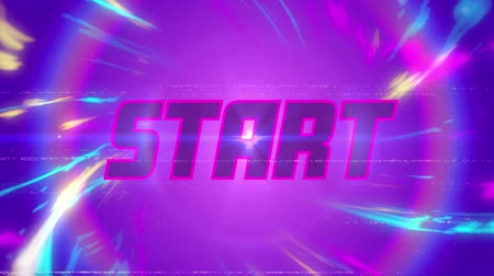 program : Animation of vintage video game screen with the word Start written in glowing pink letters in pink circle with multicoloured light trails on purple background. Vintage video game concept. Stok Video