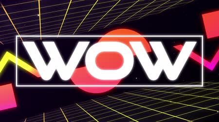 escrito : Animation of vintage video game screen with the word Wow written in flickering white capital letters in white frame with multiple geometric shapes moving in repetition with turning yellow grid on black background. Vintage video game concept.