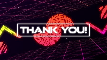 konzol : Animation of vintage video game screen with the words Thank You! written in flickering white capital letters in white frame with multiple geometric shapes moving in repetition with turning pink grid on black background. Vintage video game concept. Stock mozgókép