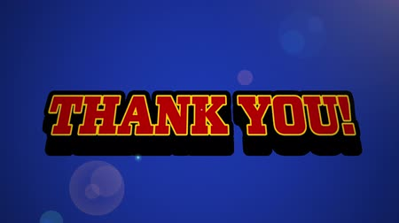montage : Animation of vintage video game screen with the words Thank You written in red letters appearing on speech bubble with blue glowing light bolt on blue background. Vintage video game concept.