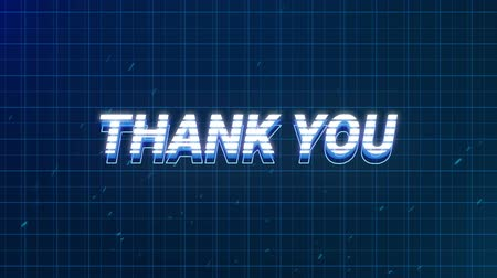 escrito : Animation of vintage video game screen with the words Thank You written in white and blue letters appearing and disappearing on blue grid on dark blue background. Vintage video game concept.