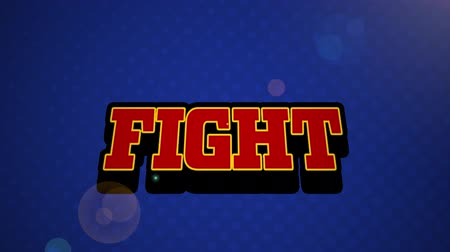 program : Animation of vintage video game screen with the word Fight written in red letters appearing on speech bubble with blue glowing light bolt on blue background. Vintage video game concept.