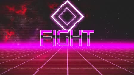 escrito : Animation of vintage video game screen with the words Flight written in pink metallic letters with pink diamond shape and pink grid moving in seamless loop with red clouds of smoke in the background. Vintage video game concept.