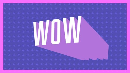 escrito : Animation of vintage video game screen with the word Wow written in white letters appearing and disappearing on purple patterned background with pink frame. Vintage video game concept.