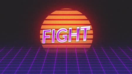 espaço de texto : Animation of vintage video game screen with the word Fight written in purple and pink metallic letters appearing on purple grid moving in seamless loop and glowing sun on dark background. Vintage video game concept.