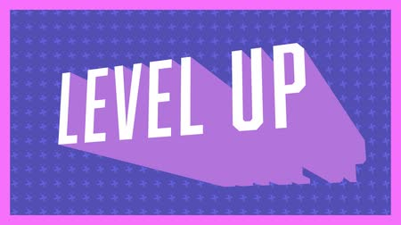 desenli : Animation of vintage video game screen with the words Level Up written in white letters appearing and disappearing on purple patterned background with pink frame. Vintage video game concept.