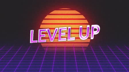 konzol : Animation of vintage video game screen with the words Level Up written in purple and pink metallic letters appearing on purple grid moving in seamless loop and glowing sun on dark background. Vintage video game concept.