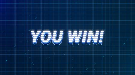 konzol : Animation of vintage video game screen with the words You Win! written in white and blue letters appearing and disappearing on blue grid on dark blue background. Vintage video game concept.