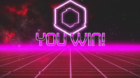 you win : Animation of vintage video game screen with the words You WIn! written in pink metallic letters with pink hexagon and pink grid moving in seamless loop with red clouds of smoke in the background. Vintage video game concept.