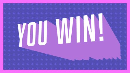 you win : Animation of vintage video game screen with the words You Win! written in white letters appearing and disappearing on purple patterned background with pink frame. Vintage video game concept.