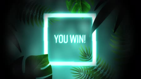 you win : Animation of vintage video game screen with the words You Win! written in glowing blue neon letters in white glowing square frame with exotic plants around on glowing blue background. Vintage video game concept.