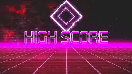 escrito : Animation of vintage video game screen with the words High Score written in pink metallic letters with pink diamond shape and pink grid moving in seamless loop with red clouds of smoke in the background. Vintage video game concept. Vídeos