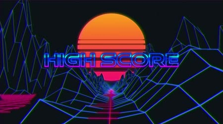 konzol : Animation of vintage video game screen with the words High Score written in purple and blue metallic letters appearing and disappearing on grid moving in seamless loop, mountains and glowing sun on dark blue background. Vintage video game concept.
