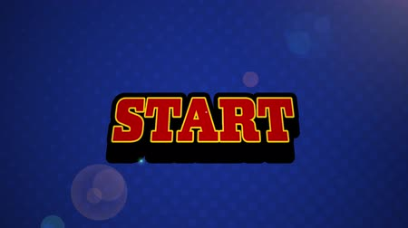 escrito : Animation of vintage video game screen with the word Start written in red letters appearing on speech bubble with blue glowing light bolt on blue background. Vintage video game concept.