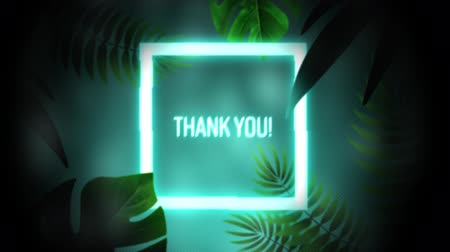 konzol : Animation of vintage video game screen with the words Thank You! written in glowing blue neon letters in white glowing square frame with exotic plants around on glowing blue background. Vintage video game concept.