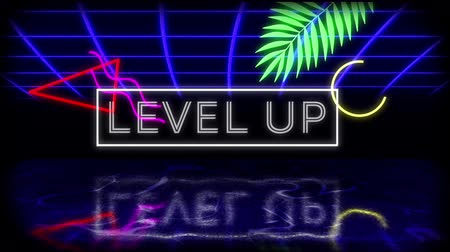 konzol : Animation of vintage video game screen with the flickering words Level Up written in glowing white neon letters in white frame with leaf, moving geometric shapes and blue glowing grid reflected in surface on black background. Vintage video game concept.